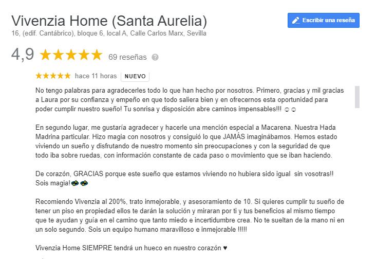 reseña Google My Business Vivenzia Home